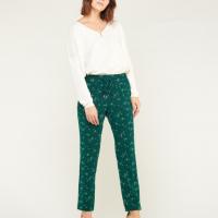 Pantalon fleuri vert Le temps des cerises